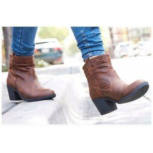 Brown Heeled Ankle Boots Women Size 7.5 New